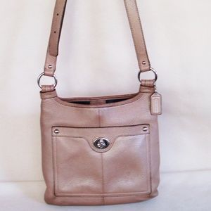 Vintage Coach Tan Pebbled Leather Crossbody Bag